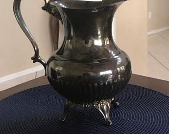 Vintage W.M. A. Rogers Silverplated Water Pitcher with Ice Holder- Claw footed--Country Chic Decor