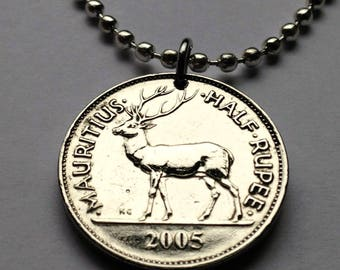2005 Mauritius 1/2 rupee coin pendant stag deer elk Port Louis Morisyen creole African Hinduism Thaipusam French British necklace n002130