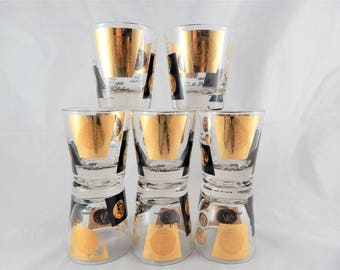 Cera glasses etsy cera glass midcentury modern low ball glasses 22kt gold old world coins set of 8 gumiabroncs Image collections