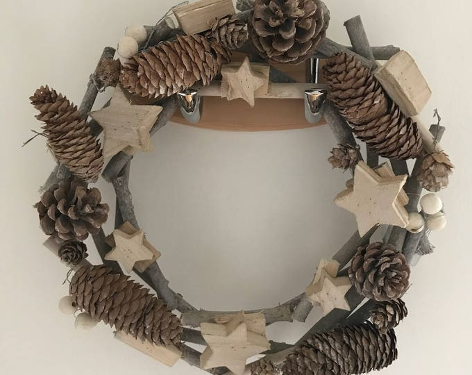 Christmas Wooden, Pine Cone, Stars, Rustic, Natural, Handmade, Wreath, Christmas Door Decoration