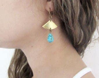 Blue Turquoise Earrings, Fan Earrings, Brass Earrings, Raw Turquoise Earrings, Dangle Earrings, Natural Stone Earrings, Boho Earrings