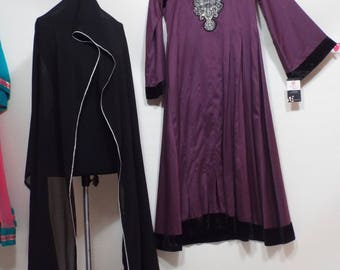 Ladies Long purple black velvet  dress, pants and shal pakistan 3 pc suit  size S-M