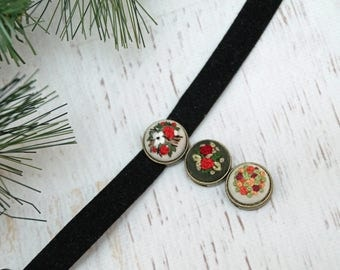 Christmas Flowers Hand Embroidered Leather Suede Cuff Bracelet - Floral Bouquet - Bronze Slide Charm - Red Roses