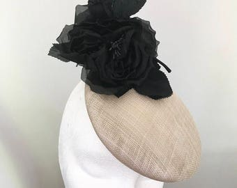 Beige & Black pillbox hat