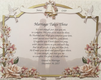 wedding gift bride and groom marriage takes three religious gift