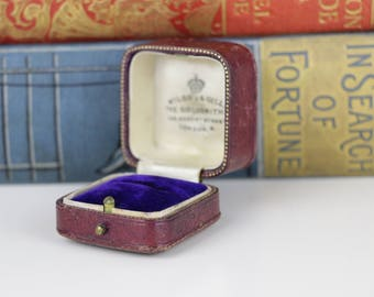 Antique Ring Box - Burgundy and Tooled Gold with Blue interior - Wedding or Engagement - Vintage Ring box