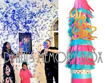 """Large Gender Reveal Confetti Cannon / 12"""" Gender Reveal Confetti Popper  / He or She?  / It's a Boy / It's a Girl"""
