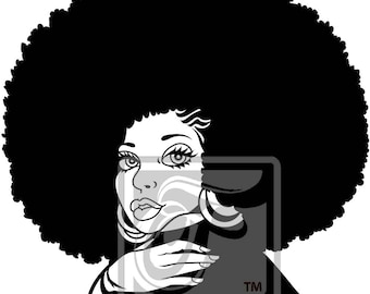 Focsi Woman with an Afro 2 SVG