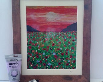 Poppy and Corn Field Framed Print