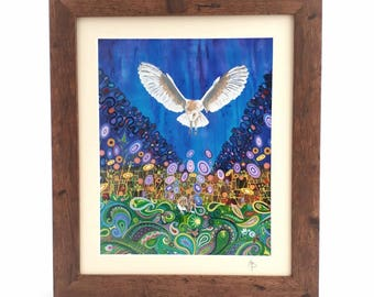 Christmas Gift Art Nouveau Barn Owl Nature Art Pagan Art  Framed and Mounted Colorful Art Print Signed