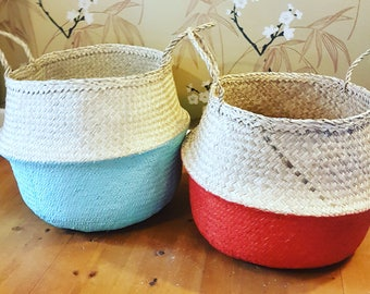 Large Dipped Seagrass Belly Basket - various colours Red, Blue. White and Coral