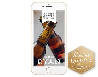 Cheers & Beers Guys Birthday Snapchat Geofilter | Birthday Geofilter | Man Geofilter | Geofilter for Men | Instant Geofilter