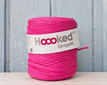 t-shirt yarn 135 yards, ecologic cotton, Zpagetti, Fuchsia, recycled yarn, cotton yarn, elastic yarn