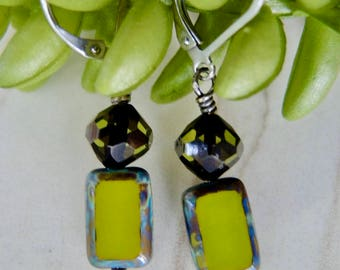 OLIVE Drop EARRINGS Czech Medallion & Swarovski Olive Crystal top Bead Hypoallergenic lever backs Artisan Jewelry Boutique of Blue Ridge