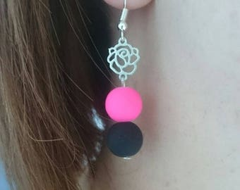Black and pink beads and dangling Flower Earrings