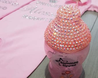 bedazzled bling rhinestone lid baby tommee tippee bottle