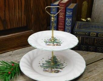 Vintage Nikko Happy Holidays Christmas 2 Tiered Server - Christmas Tree
