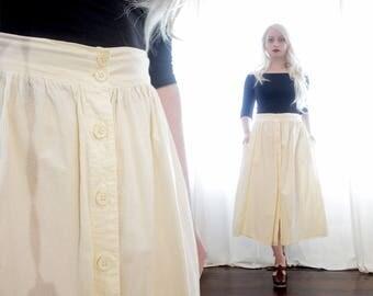 Vintage 1980s Turkish Ivory cream white cotton muslin button up midi skirt boho made in turkey hippie neutral natural
