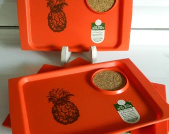 Orange Acca Ware snack trays by David Douglas with pineapple motif and cork coaster insert / mod snack set of 4