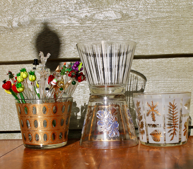 Fred Press Gold Glassware Mod Ice Bucket Black White Striped Ice Bucket Mad  Men Barware Retro