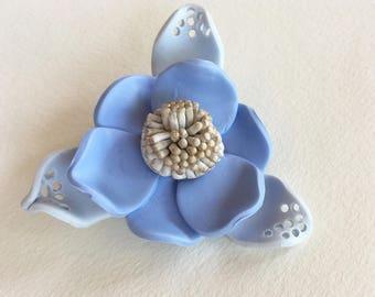 Sky blue flower Brooch made of polymer clay Artistic hand modelling jewelry ooak jewellery Gift idea under 20