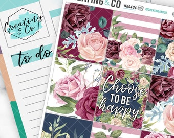 Rose Garden Weekly Planner Kit for No-White Space and White Space Planners  - WK04