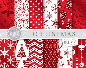 CHRISTMAS Digital Paper / Christmas Red Patterns / 8 1/2 x 11 Christmas Prints, Christmas Download, Holiday Patterns Printable Scrapbook