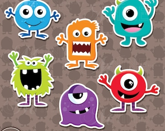 MONSTERS Sticker Clip Art / MONSTER Clipart Downloads / Monsters Clipart, Vector Monsters Sticker Clipart