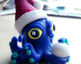 Blue Octopus Snowball Ornament