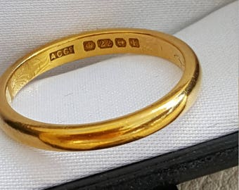 Antique 1930  22ct Gold Band 3mm Wide