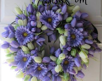 SPRING TULIP WREATH...... Spring Door Wreath...Tulip Door Decor Wreath....Mother's Day Wreath ...Easter Decor Wreath....Housewarming Gift