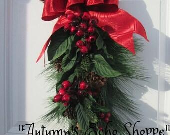 CHRISTMAS DOOR SWAG , Wreath Alternative Decor , Christmas Wreath , Christmas Swag , Holiday Wreath , Holiday Decor , Seasonal