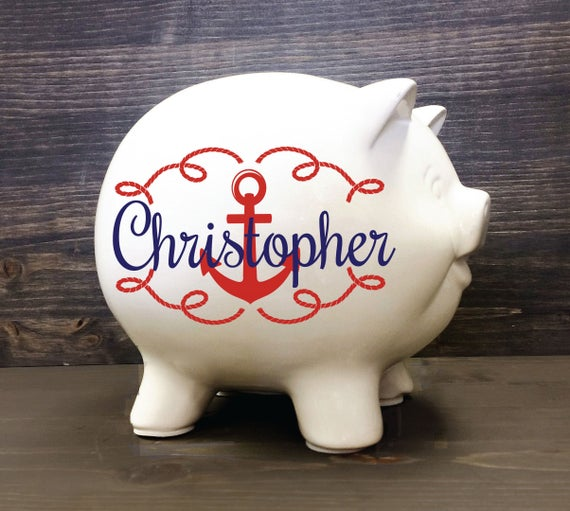 Nautical piggy bank 5 5 custom ceramic piggy bank - Nautical piggy banks ...