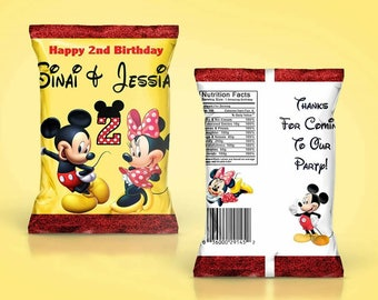DIY PDF Template Girl & Boy Mouse Themed Chip Bag Treat Bag(READ before ordering)