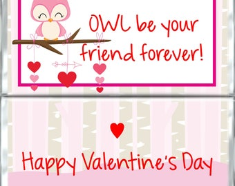 Valentine's Day Chocolate Bar Wrappers - Valentine OWL Favors for Kids - Custom Candy Wraps - Hershey Bar Wrappers - Printable PDF