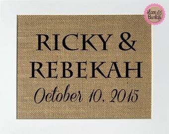 CUSTOM Couple Name & Date - BURLAP SIGN 5x7 8x10 - Rustic Vintage/Wedding Decor/Love House Sign