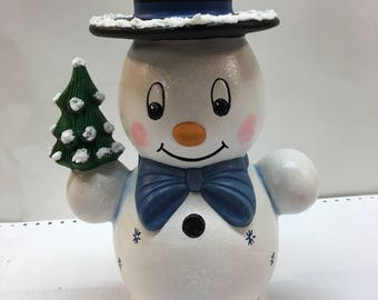 Mr. Snowman Blue bow