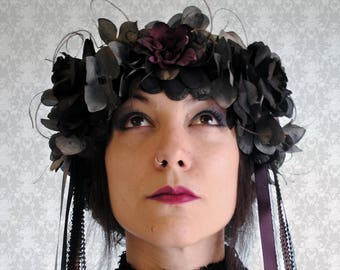 Gothic Flower Crown, Floral Dark Fairy Headpiece,Art Nouveau Gothic Bridal Headdress,Dark Flower Mucha Wreath Headpice-Ready to Ship