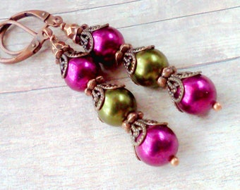 Purple and Green Jewelry, Handmade Earrings, Vintage Style, Filigree and Pearls, Jewelry for Fall, Hand Colored Pearls, Swarovski Pearls
