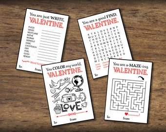 Kids Valentine Cards For School. Puzzles Valentines Day Card. DIY Instant  Download Printable For
