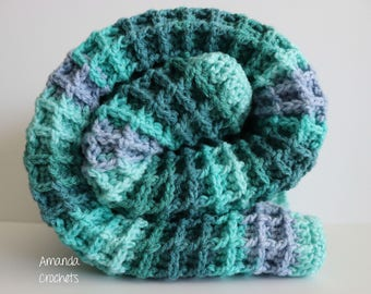 Blue Baby Blanket | Waffle Stitch | Crochet Blanket | Caron Cake Blue Green | Blankets & Throws | Baby Blanket | Crochet Blue Green Blanket
