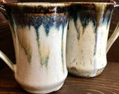Handmade High Fired Blue & White Ceramic Mugs, Wheelthrown Coffee Mug, Modern Kitchenware, Handthrown Birthday Gift, Wedding Gift