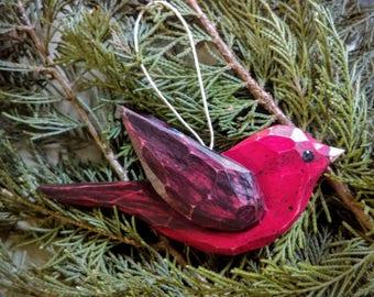 Bird,Ornament,Scarlet Tanager,Carved,