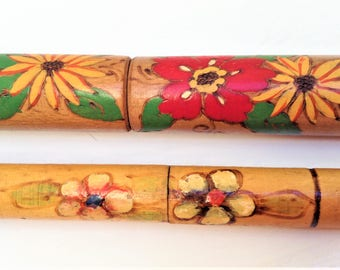 Vintage wooden needle holders for knitting and crocheting needles