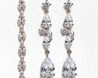 Wedding Jewelry Set,Silver Bracelet and Earring set, Bridal Jewelry, Bridal Accessories Silver Wedding Jewelry B249+E217