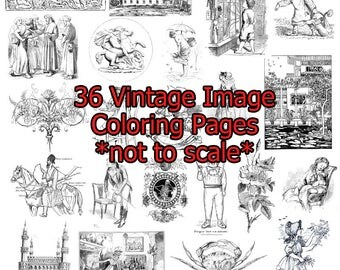 Vintage Images coloring pages 36 images instant download