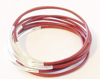45%OFF JULY 4th Honeydew Leather Bangle Bracelet with Gold or Silver Tube Accents, Tube Bangles, Tube Bracelets