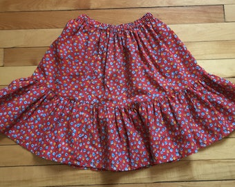 Reserved! Do not buy! Vintage 1970s Girls Red Floral Calico Skirt! Size 5-6
