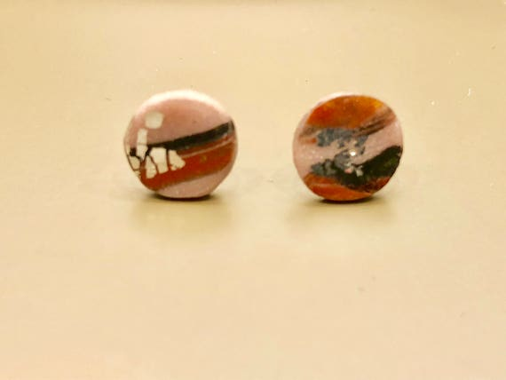 Earrings - contemporary handmade pink/red/black/silver polymer clay sterling silver studs