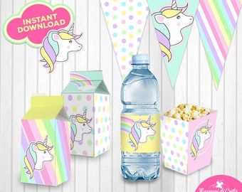 Printable Unicorn Rainbow Party